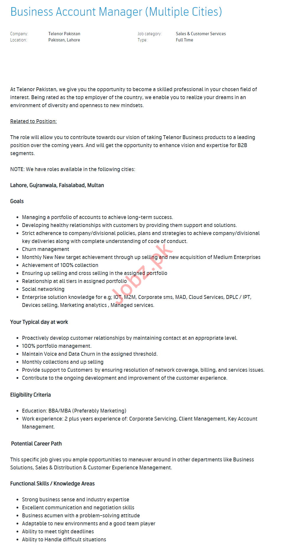 Business Account Manager Jobs in Telenor Pakistan