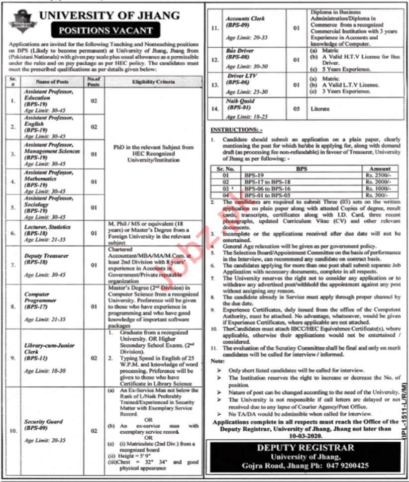University of Jhang Faculty Staff Jobs 2020