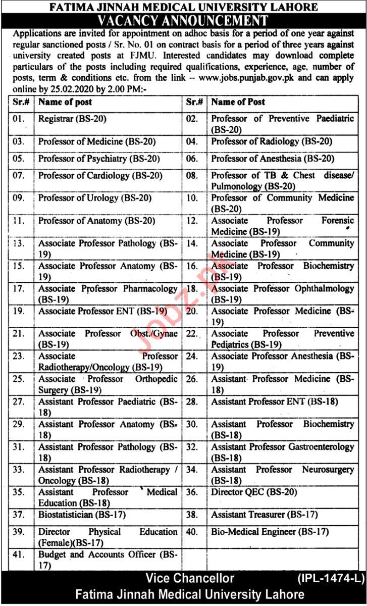 Fatima Jinnah Medical University FJMU Jobs 2020