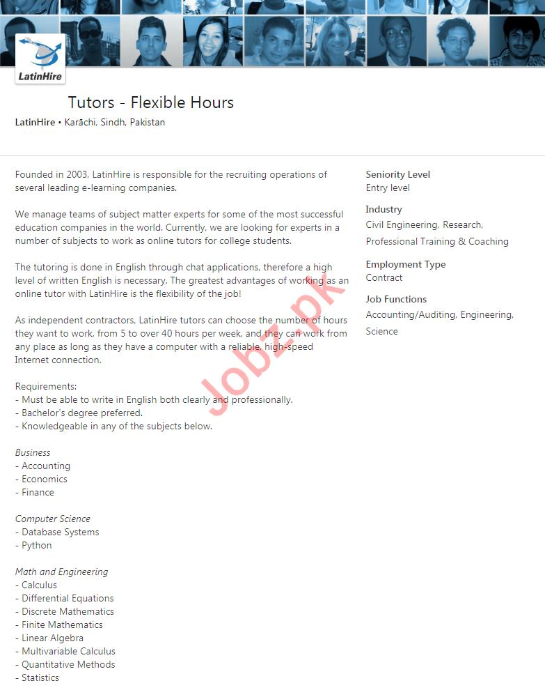 LatinHire Karachi Jobs 2020 for Tutors