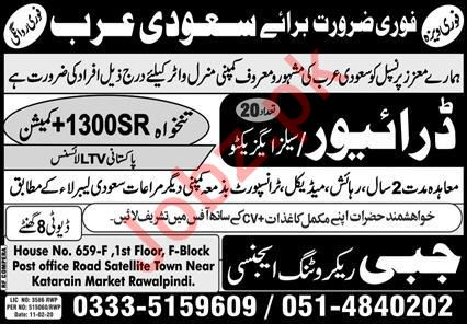 Mineral Water Company Jobs For Driver & Sales Executive
