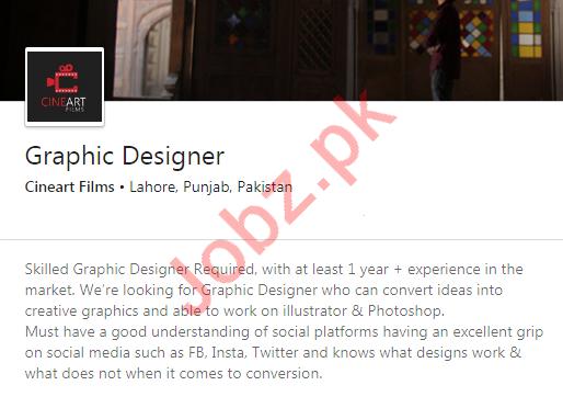 Cineart Films Lahore Jobs 2020 for Graphic Designer