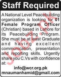 Program Officer Jobs in Peacebuilding Organization
