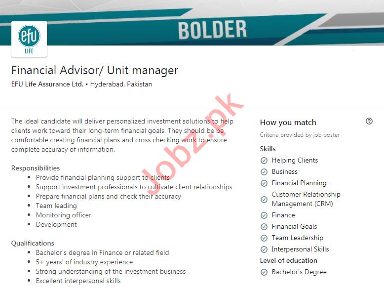EFU Life Assurance Hyderabad Jobs 2020 for Unit Manager