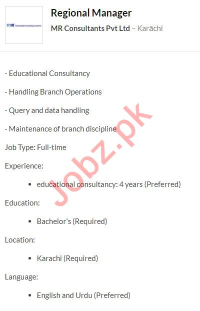 MR Consultants Karachi Jobs 2020 for Regional Manager
