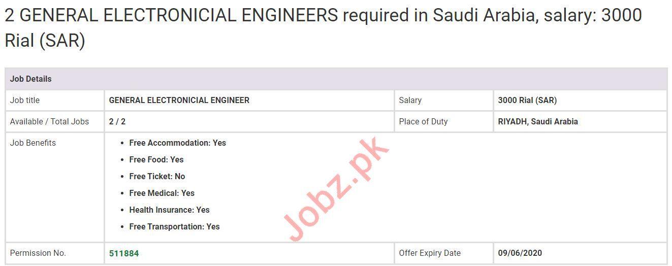 General Electronicial Engineers Jobs in Riyadh Saudi Arabia
