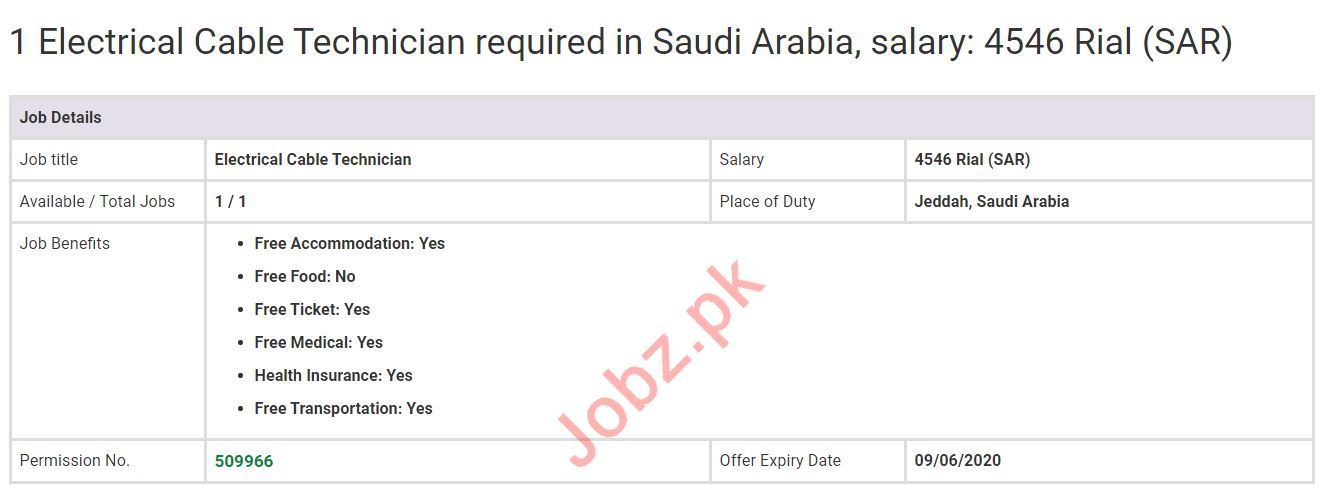 Electrical Cable Technician Job 2020 in Jeddah Saudi Arabia