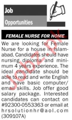 Female Nurse Jobs in House
