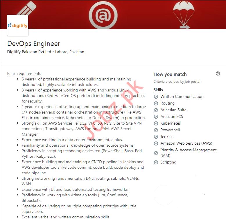 DevOps Engineer Jobs in Digitify Pakistan Limited