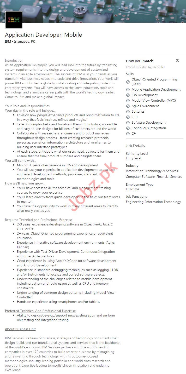 Application Developer Jobs in IBM Computers