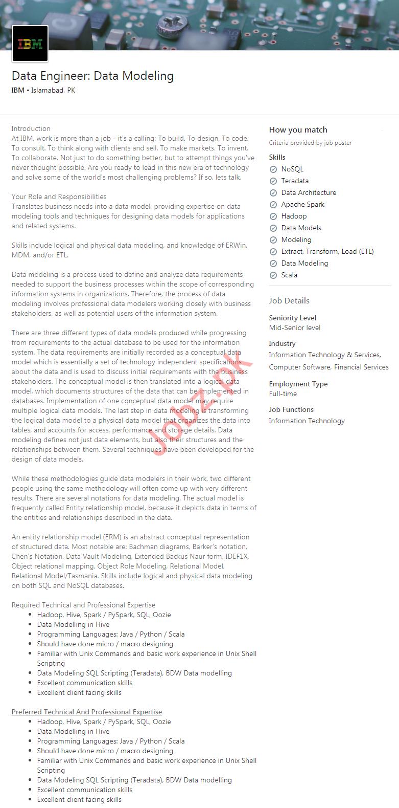 Data Engineer Jobs in IBM Computers Pakistan