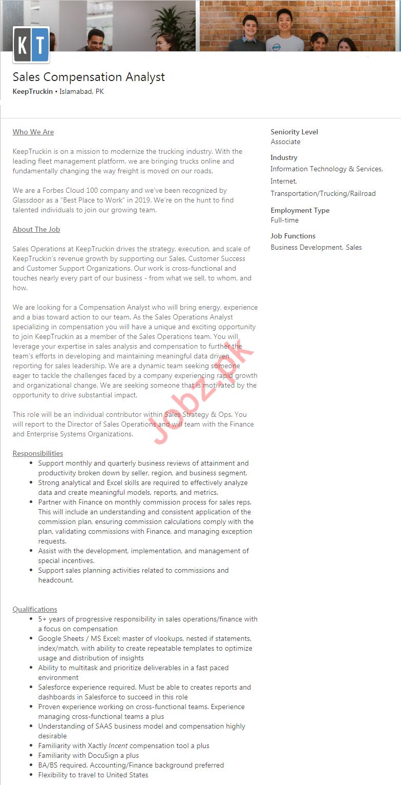 Sales Compensation Analyst Jobs in KeepTruckin