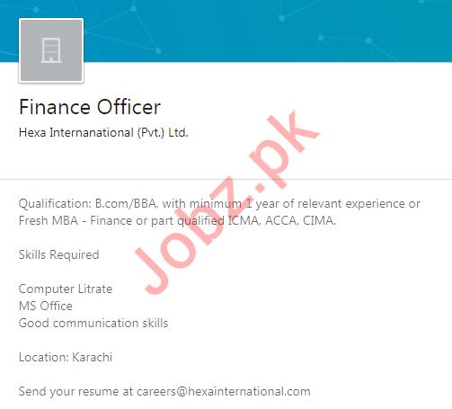 Finance Officer Job 2020 in Karachi