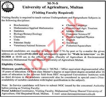 Muhammad Nawaz Shareef MNS University of Agriculture Jobs