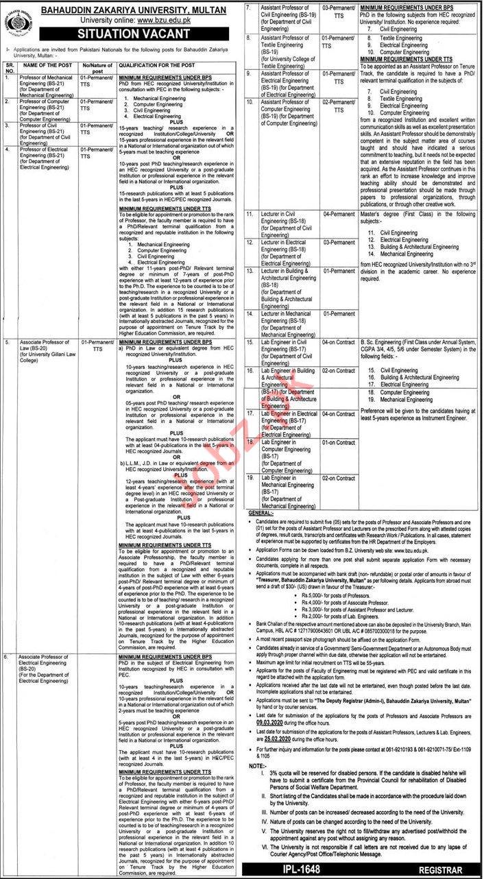 Bahauddin Zakariya University BZU Jobs 2020 in Multan