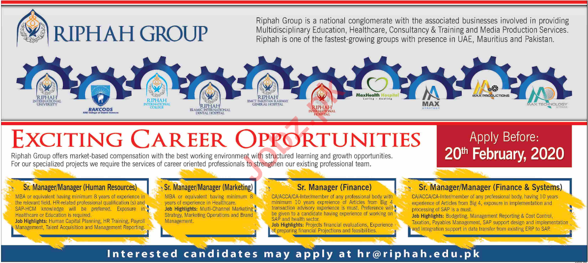 Riphah Group of Educational Institute Jobs 2020