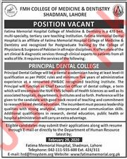 FMH College of Medical & Dentistry Jobs 2020