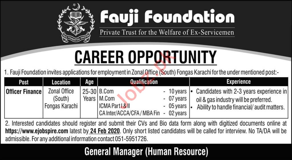 Fauji Foundation Private Trust Jobs 2020 in Karachi