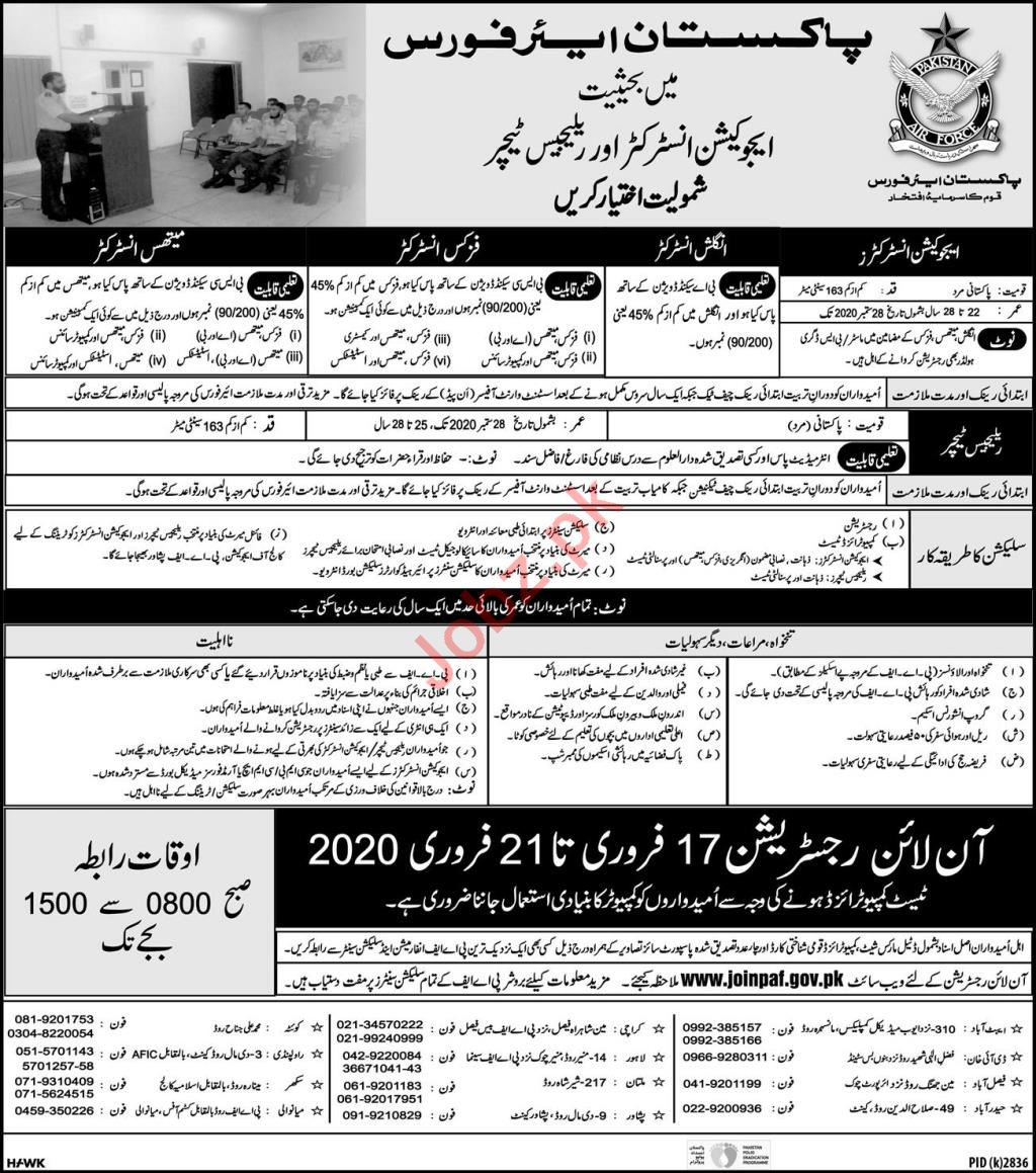 Pakistan Air Force PAF Jobs 2020