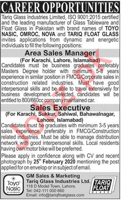 Tariq Glass Industries Lahore Jobs 2020 Area Sales Manager