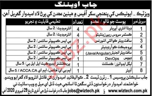 Wiztech Pakistan Jobs 2020 in Sukkur
