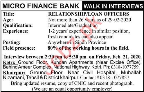 Microfinance Bank Walk In Interviews 2020