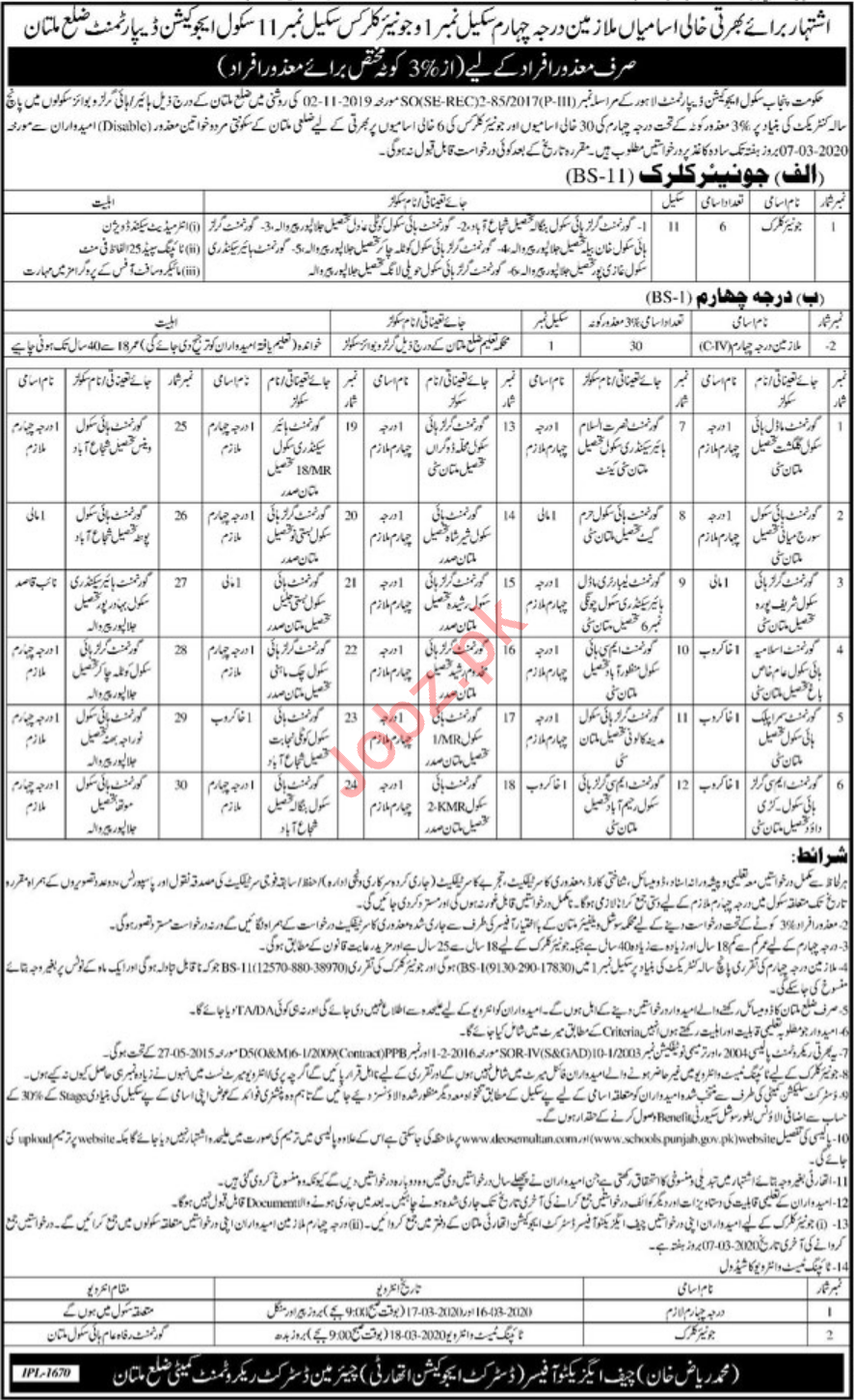 School Education Department Jobs For Disabled Persons