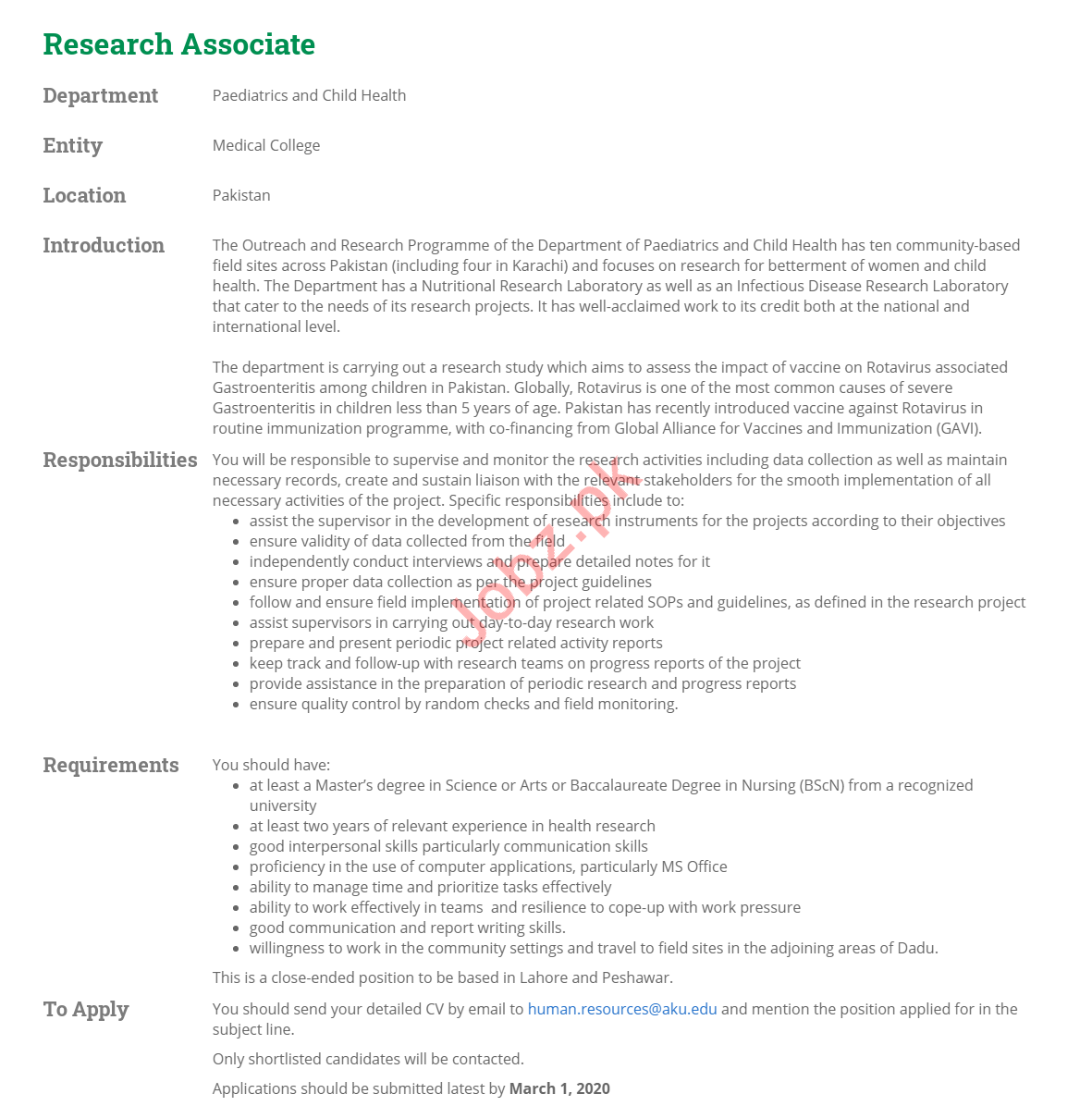 Research Associate Jobs in Aga Khan University AKU