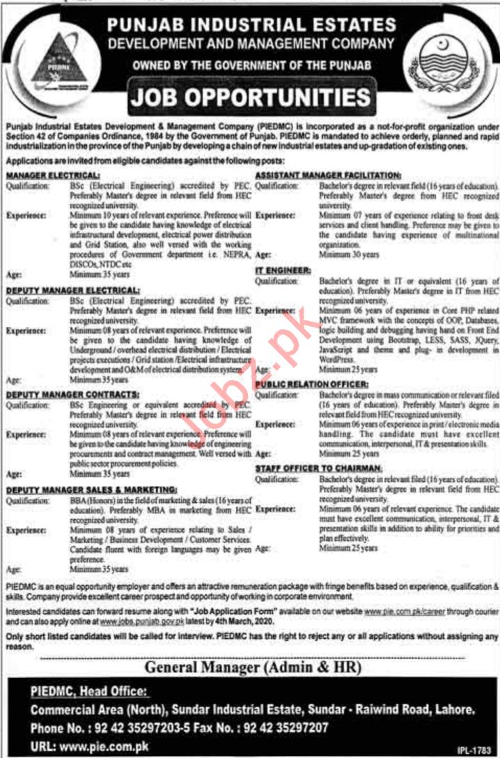 Punjab Industrial Estates Development & Management Co Jobs