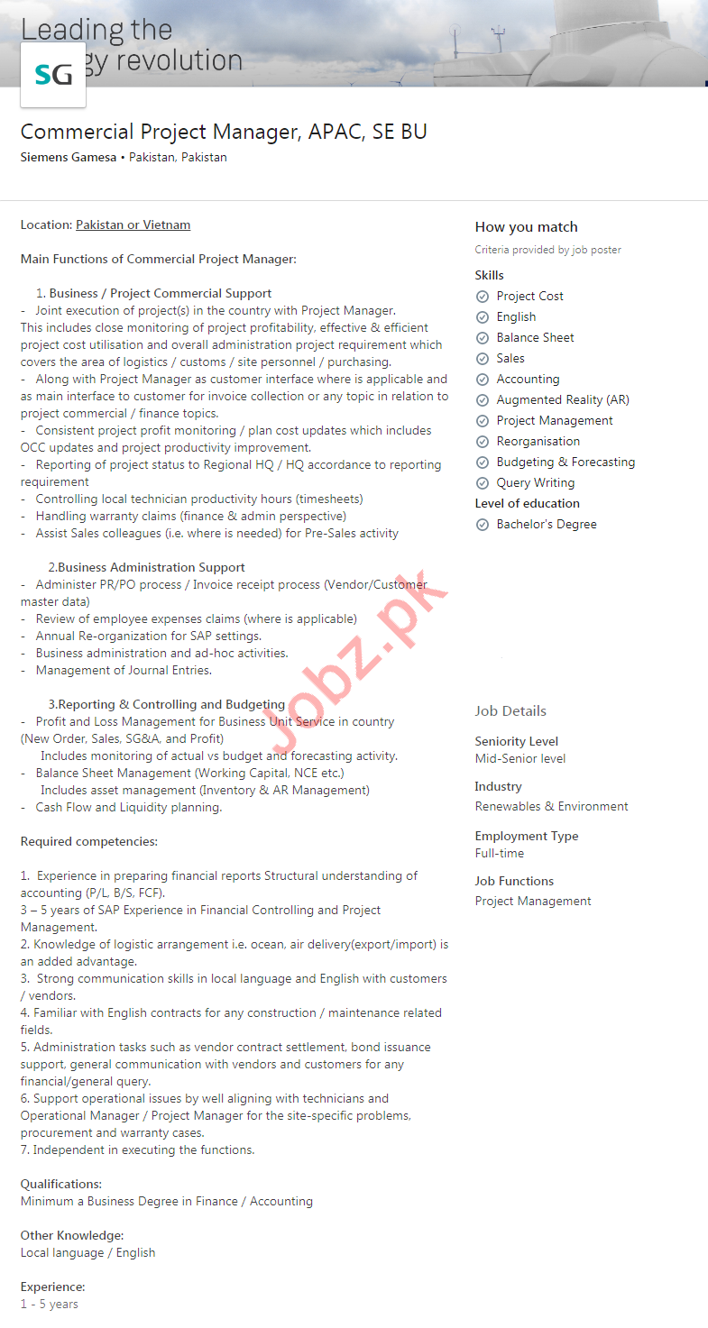 Commercial Project Manager Job 2020 in Karachi