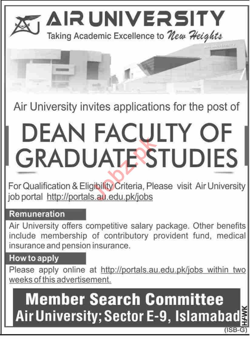 PAF Air University AU Islamabad Jobs 2020 for Dean