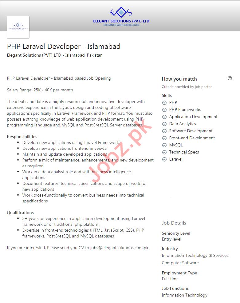 Elegant Solutions Jobs 2020 for PHP Laravel Developer