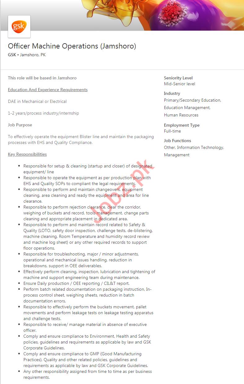 GlaxoSmithKline GSK Pharmaceutical Company Jamshoro Jobs