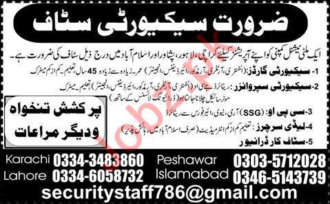 Security Staff Jobs in Karachi, Lahore, Peshawar & Islamabad