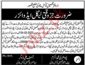 Tehsil Council Office Job 2020 For Legal Advisor in Pattoki
