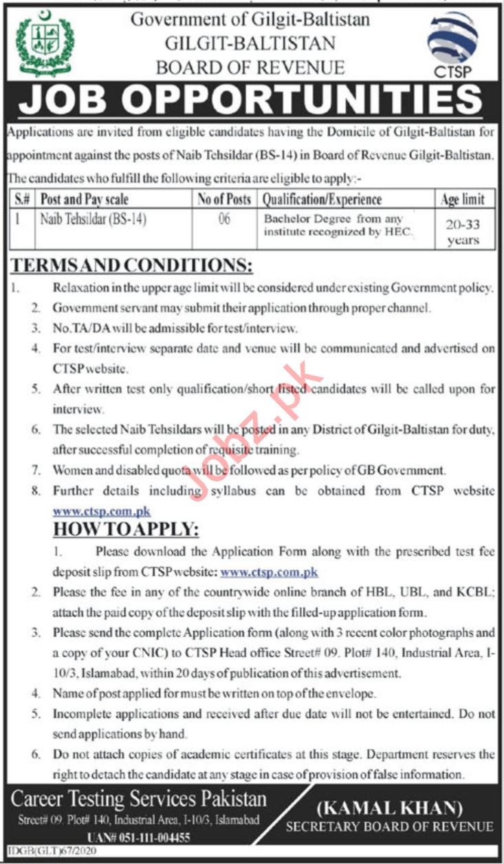 Board of Revenue Jobs 2020 in Gilgilt Baltistan via CTSP