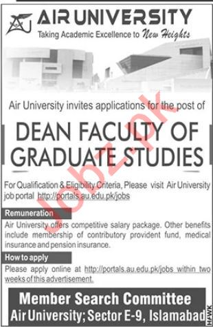 Air University Dean Jobs 2020 for Islamabad Campus