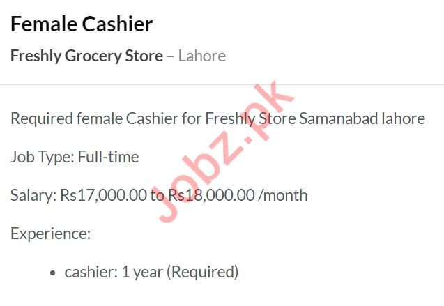 Freshly Grocery Store Job 2020 For Cashier in Lahore