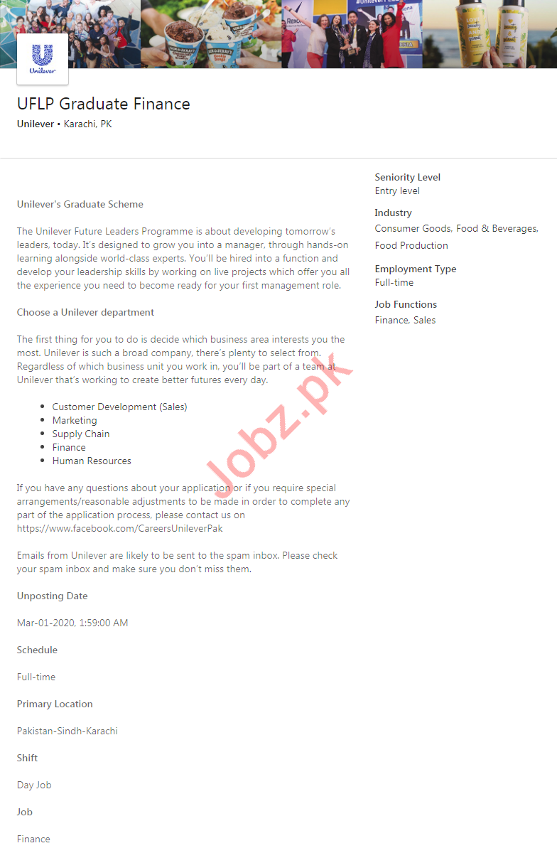 Unilever Pakistan Limited Jobs 2020 in Karachi