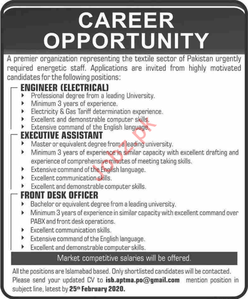 All Pakistan Textile Mills Association APTMA Jobs 2020