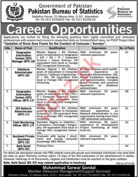 Pakistan Bureau of Statistics Jobs 2020