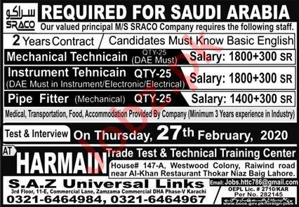 SRACO Company Technical Staff Jobs 2020 for KSA
