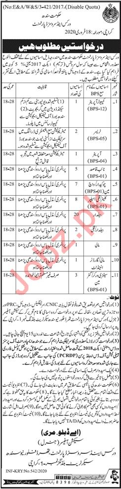 Sindh Works & Services Department Jobs 2020