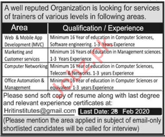 Web & Mobile App Developer NGO Jobs 2020 in KPK