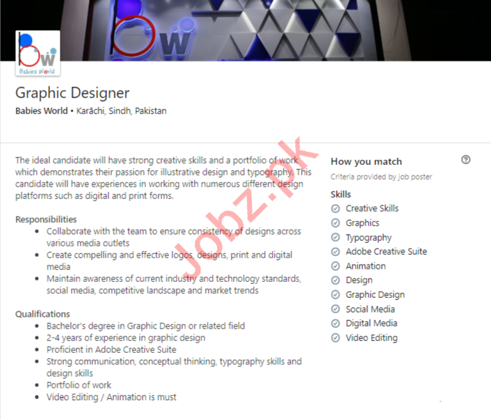 Babies World Karachi Jobs 2020 for Graphic Designer