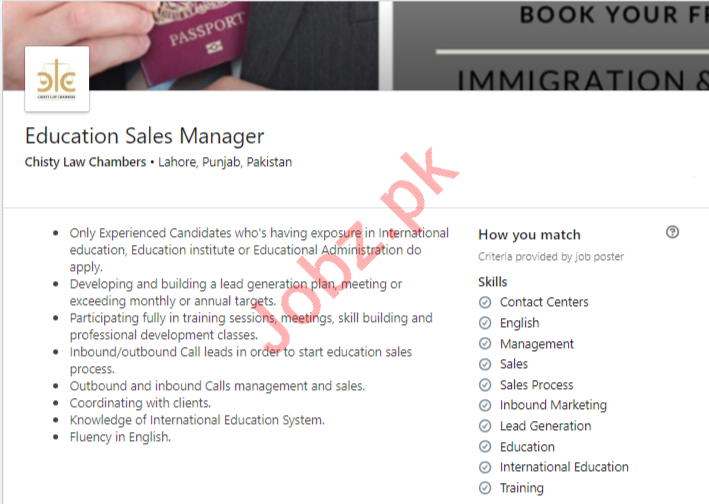 Chisty Law Chambers Lahore Jobs 2020 Education Sales Manager