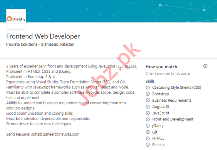 Inavista Solutions Islamabad Jobs for Frontend Web Developer
