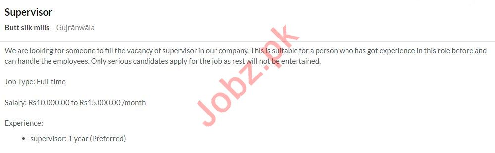 Supervisor Jobs in Butt Silk Mills