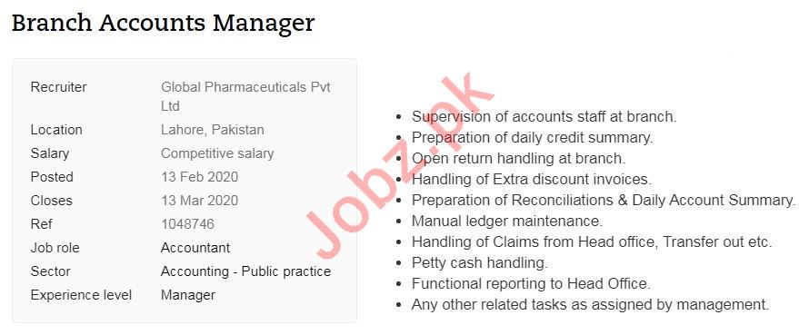 Branch Accounts Manager Jobs in Global Pharmaceuticals