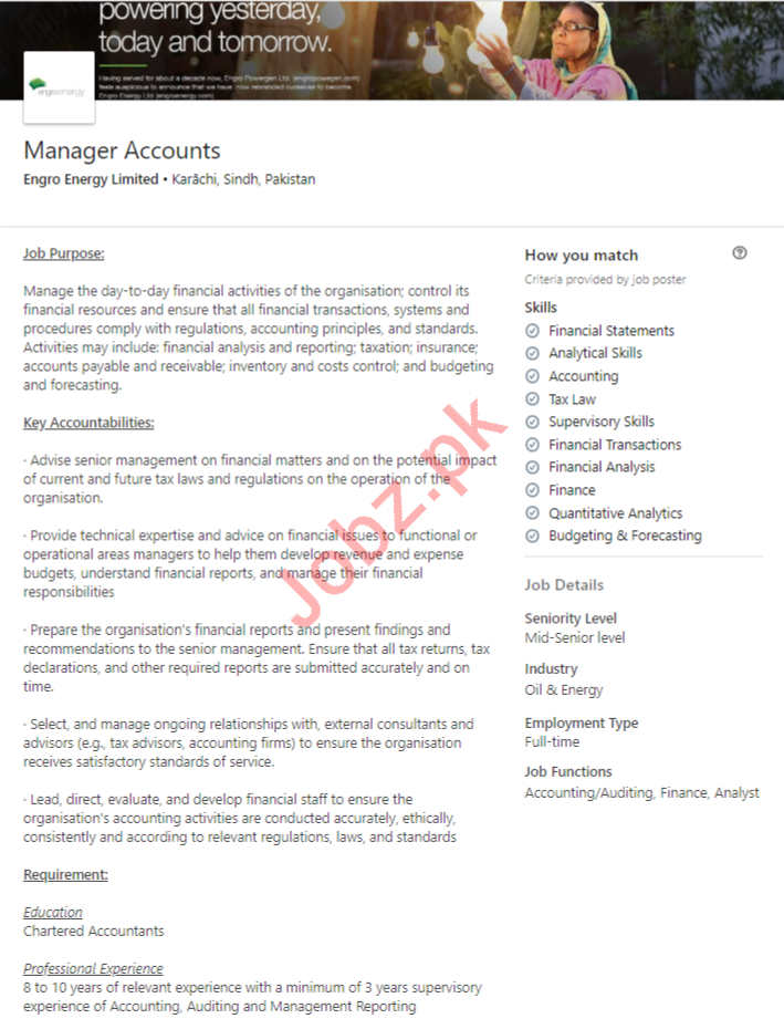 Engro Energy Karachi Jobs 2020 for Manager Accounts